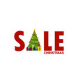 sale letters card with christmas tree vector image