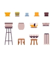 Set of retro pots and stands vector image vector image