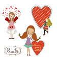 Set of three girls in love isolated on white vector image