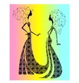 Silhouette of two beautiful girls vector image vector image