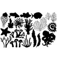 silhouettes deepwater living organisms fish vector image