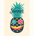 summer retro poster funny face made fruits vector image