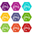 support 24 hours icon set color hexahedron vector image vector image