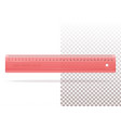 transparent plastic red ruler for school or office vector image