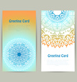 Vertical greeting orange and blue card with lace vector image vector image