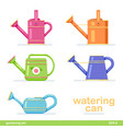 watering can set different colored flat design vector image vector image
