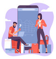 young man and woman are shopping online using vector image