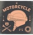 Poster of vintage race motorcycle helmet Retro vector image
