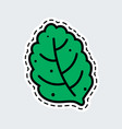 green leaf in patch style clip art for sticker or vector image