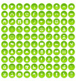 100 map icons set green circle vector image vector image