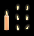 3d realistic candle and different flame vector image vector image