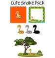 a pack of cute snake vector image vector image