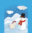 bear wearing red hat with snowman wearing red vector image vector image