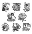 beer alcohol drink icons bottles glasses mugs vector image vector image