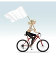 Blonde Woman Girl Riding a Bicycle with Flag vector image vector image