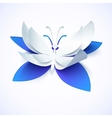 Blue paper cutout butterfly vector image vector image