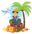 boy arrived on summer holiday on sea vector image vector image