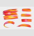 bright orange red acrylic paint brush strokes on vector image