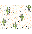 Cactus hand-drawn seamless pattern vector image vector image