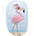 cartoon flamingo on a beach vector image