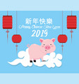 chinese year event with pig and lamps vector image vector image