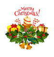 christmas tree and holly berry wreath card design vector image