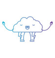 cloud with lightnings kawaii caricature in color vector image