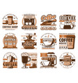 coffee cups beans grinder and cream icons vector image vector image