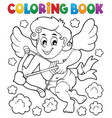 coloring book with cupid 5 vector image vector image