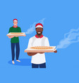 couple male cook chef characters holding box with vector image vector image