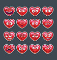 cute cartoon red heart emoji set vector image