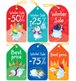 Cute Christmas tags set vector image