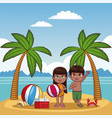 cute kids at beach vector image vector image