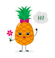 cute pineapple cartoon character with a pink bow vector image