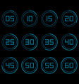 Digital countdown timer with five minutes interval vector image vector image