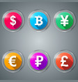 dollar bitcoin yen euro ruble pound icon vector image vector image