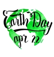 Earth Day calligraphy on watercolor background vector image