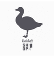 Farm bird silhouette Goose meat Butcher shop vector image