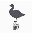 Farm bird silhouette Goose meat Butcher shop vector image vector image
