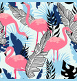 flamingo pattern seamless summer texture vector image vector image