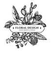 floral bouquet design with black and white ficus vector image vector image