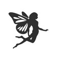 flying fairy silhouette character design vector image vector image