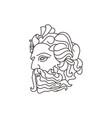 greek god poseideon line art logo ancient vector image
