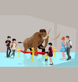 group people watching big mammoth vector image vector image