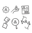 hand drawn simple set business management vector image vector image