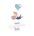 happy valentines day greeting card male character vector image vector image
