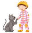 Little boy with pet cat vector image vector image