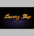 luxury shop gold golden text word on purple vector image