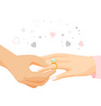male hand puts diamond ring on female finger vector image