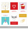 merry christmas cards set with hand drawn vector image vector image